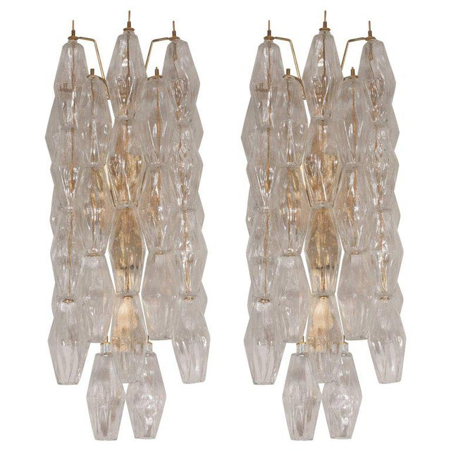 Gold Pair of Handblown Murano Glass Polyhedral Sconces with Brass Fittings For Sale - Image 8 of 8