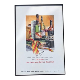 Late 20th Century The Cork and Bottle Wine Bar, London Autographed Anniversary Poster W/ Dedication For Sale