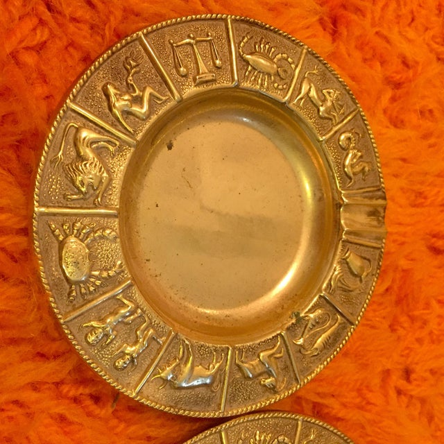 Mid-Century Modern Brass Zodiac Ashtrays- Set of 4 For Sale - Image 3 of 7