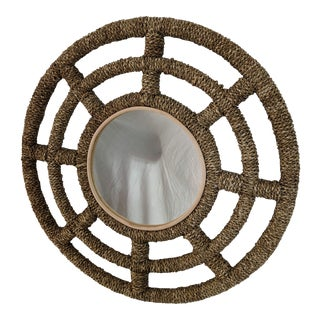 Coastal Woven Decorative Wall Mirror For Sale