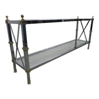 Maison Jansen Style Chrome and Brass Console Table