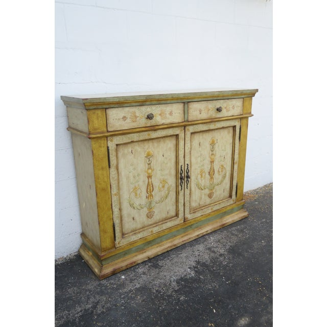 French Shabby Shic Painted Distressed Tall Sideboard Buffet Narrow Console 2154 For Sale - Image 13 of 13