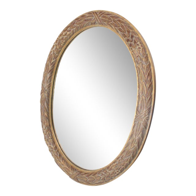 Pair of Medium Large Oval Gold Gild Leaf Pattern Frame Mirrors For Sale