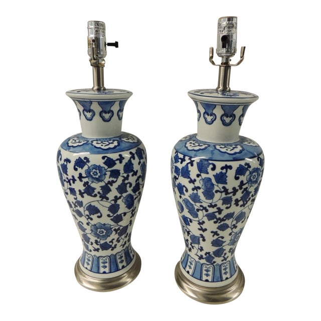 Vintage Blue & White Ceramic Lamps - Pair - Image 1 of 5