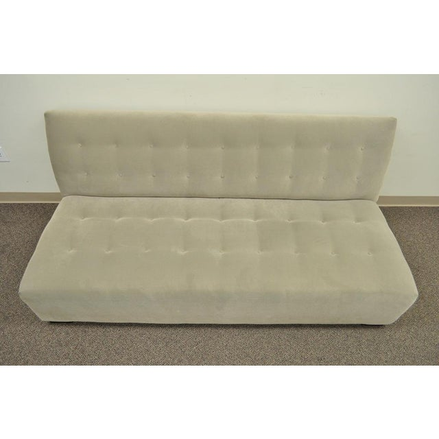 Crate & Barrel Crate & Barrel Mitchell Gold Modern Plus Armless Sofa Loveseat Couch 336-003t-20 For Sale - Image 4 of 12