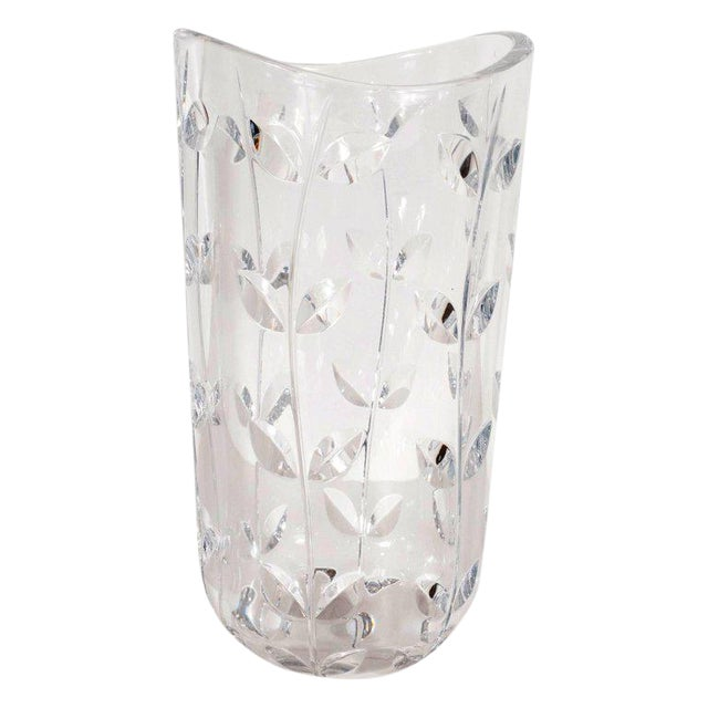 Large Modernist Crystal Vase With Incised Foliate Patterns by Tiffany & Co. For Sale