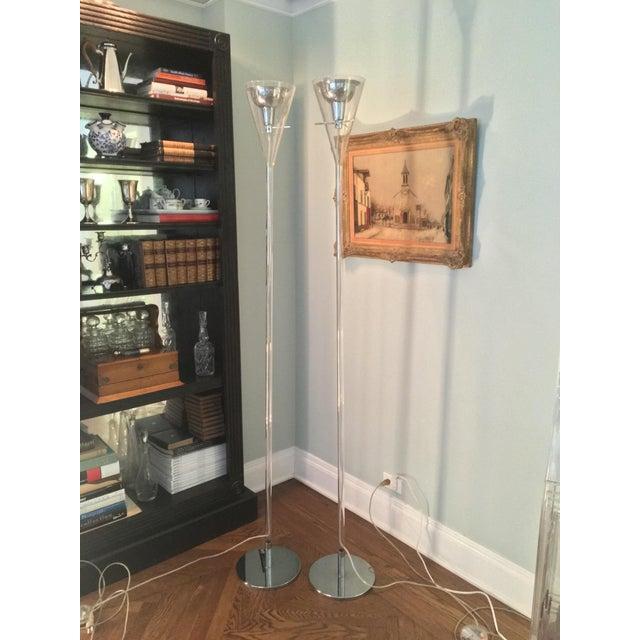 Italian Franco Raggi Fontana Arte Flute Floor Lamps For Sale - Image 3 of 4