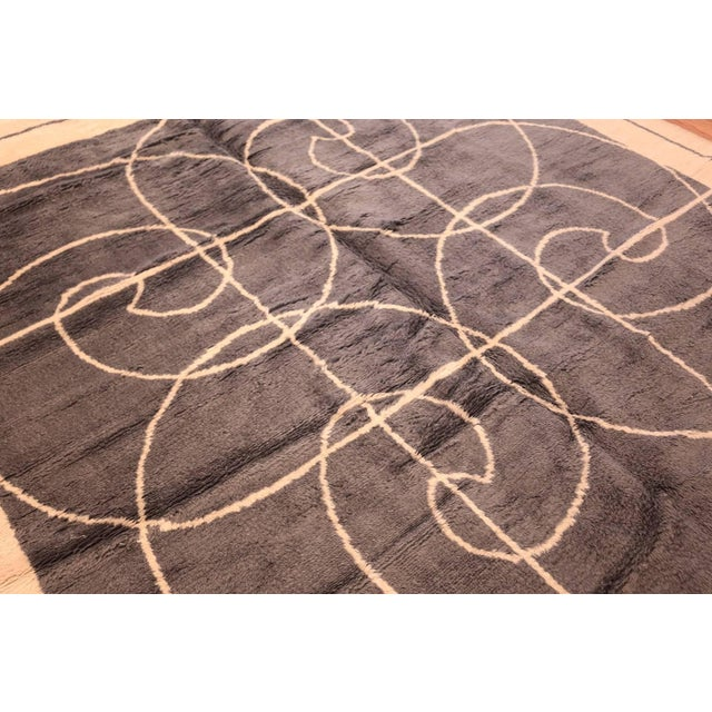 Mid 20th Century Mid-Century Square Size Rug by Pierre Cardin - 8′ × 8′ For Sale - Image 5 of 7