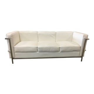 Mies Van Der Rohe White Leather Sofa For Sale