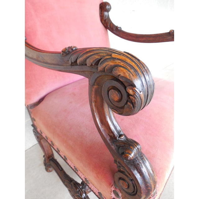 Vintage Carved Gothic Renaissance Style Arm Chair - Image 11 of 11