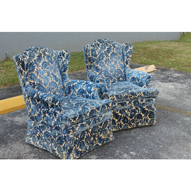 Cut Crushed Velvet Wingback Chairs - A Pair For Sale - Image 4 of 10