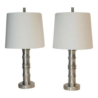 Exceptional Machine Age Aluminum Lamps - A Pair For Sale
