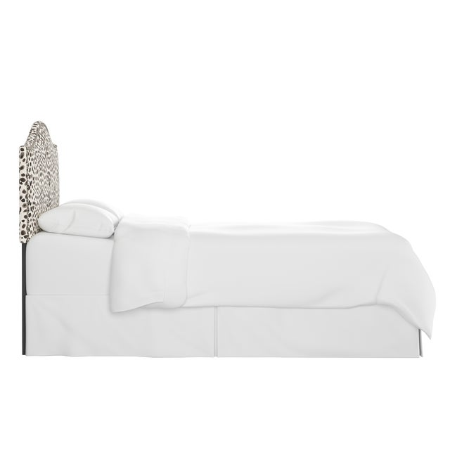 Transitional Queen Headboard, Washed Cheetah Cream Grey For Sale - Image 3 of 7