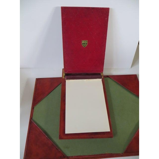 Italian Vintage Neiman Marcus Italian Leather Desk Set For Sale - Image 3 of 5