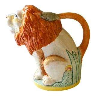 Large Italian Angela West for Presentense Lion and Palm Leaf Pitcher For Sale