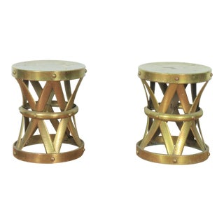 Vintage Brass Pair of Drum Style Stools For Sale