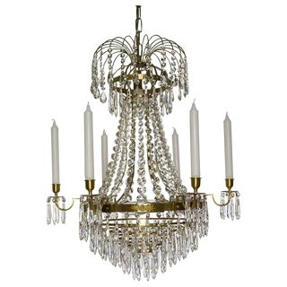 Empire 6 Cognac Drop Chandelier For Sale