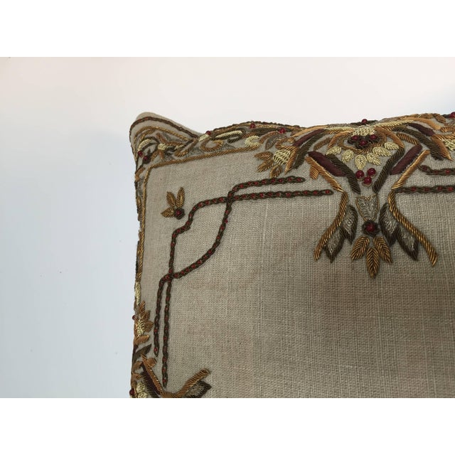 Accent Pillow Embroidered With Moorish Metallic Threads Design For Sale - Image 9 of 10