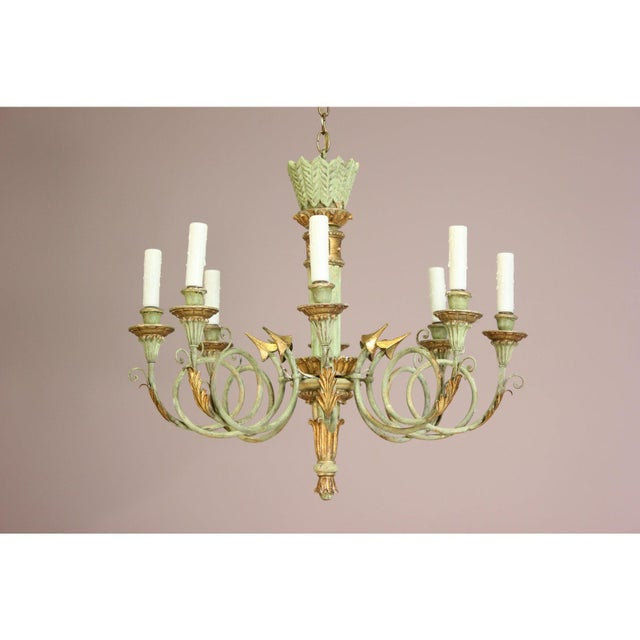 Italian 1960s Vintage Painted and Parcel-Gilt Chandelier For Sale - Image 9 of 9