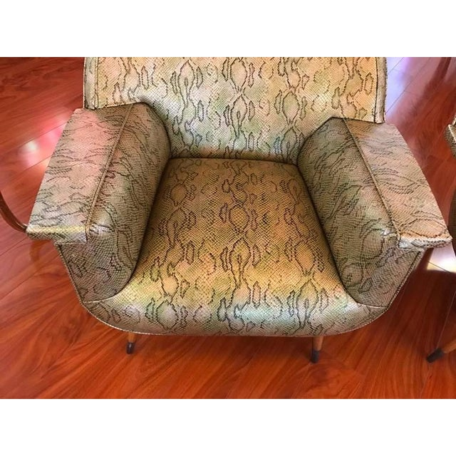 Italian Mid-Century Modern Club Chairs with Faux Snake Skin - A Pair For Sale In New York - Image 6 of 9