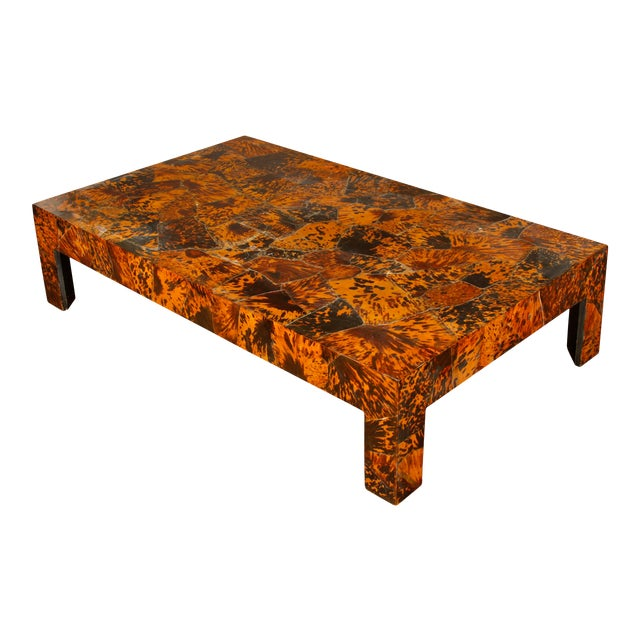 Vintage Gracie Studio Faux Tortoise Oversize Coffee Table For Sale