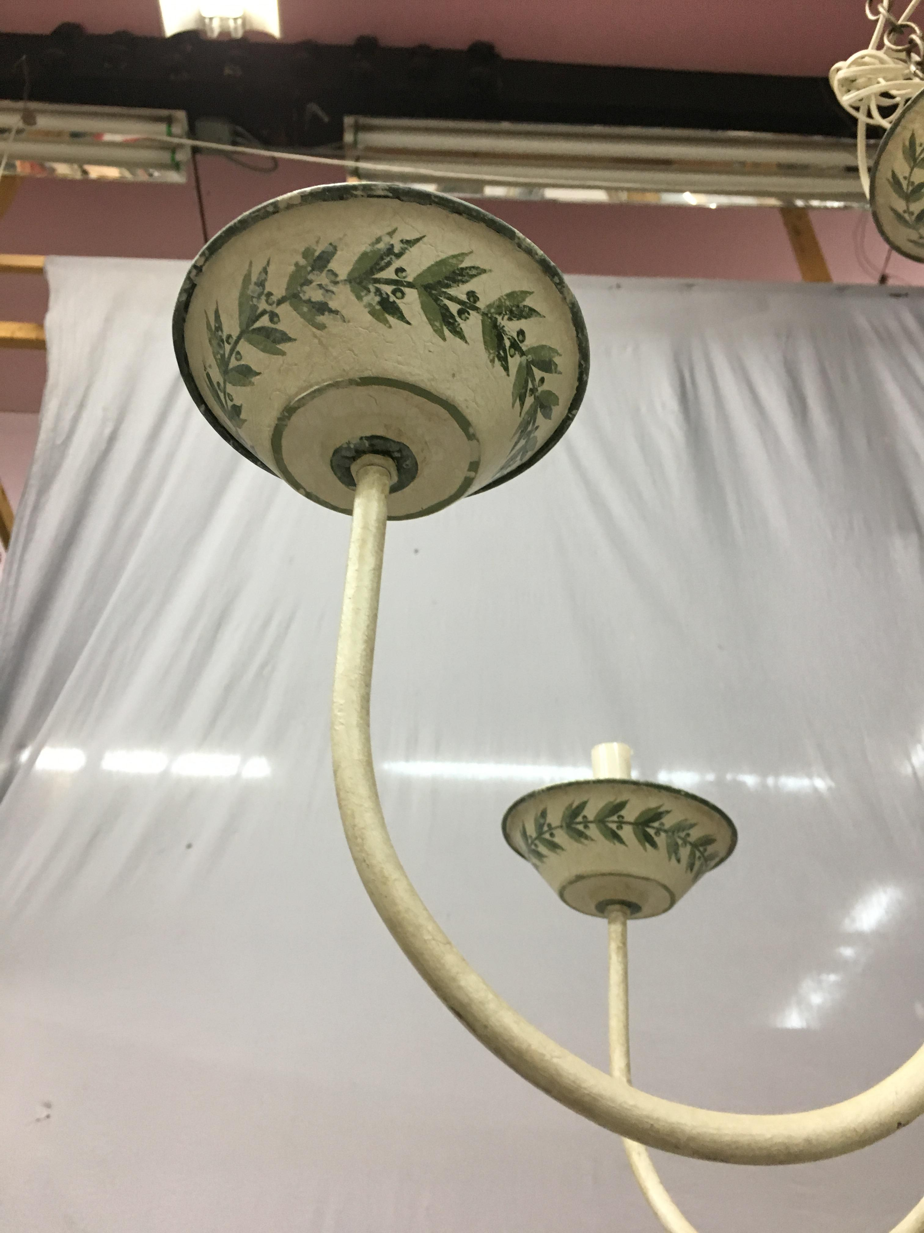 French Chinoiserie Hand Painted Urn Shaped Chandelier