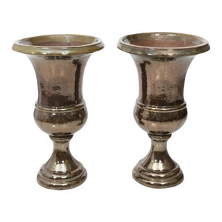 Mid 20th Century Silver Luster Glazed Terracotta Urns - a Pair For Sale