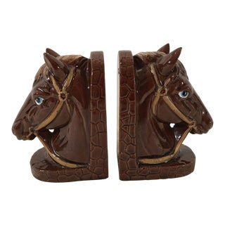 Mid-Century Horse Head Ceramic Bookends - a Pair