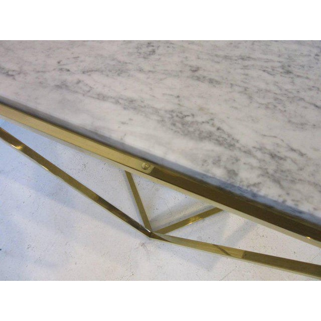 Brass and Italian Marble Coffee Table For Sale - Image 4 of 6