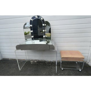 Mid Century Modern Lucite Vanity Table Desk With Lighted Mirror and Stool - a Pair Preview