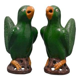 1980s Kreider Sisters Ceramic Parrots-a Pair For Sale