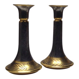 Fraunfelter Ohio China 2 Toned Acid Etched Floral Pillar Candlestick Holders Circa 1920s -30s For Sale