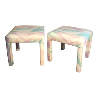 Vintage Custom Upholstered Ottoman Stools - A Pair For Sale