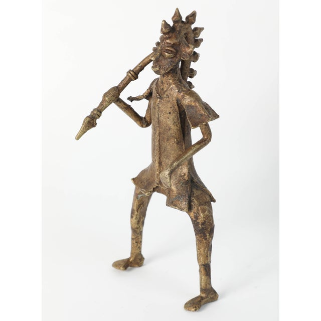 Gold African Brass Sculpture of a Tribal Warrior on Horse For Sale - Image 8 of 9