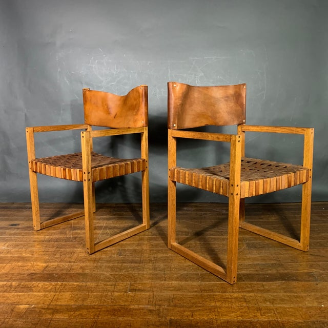 Set of Six Danish 1970 Woven Leather & Oak Dining Chairs For Sale - Image 4 of 11