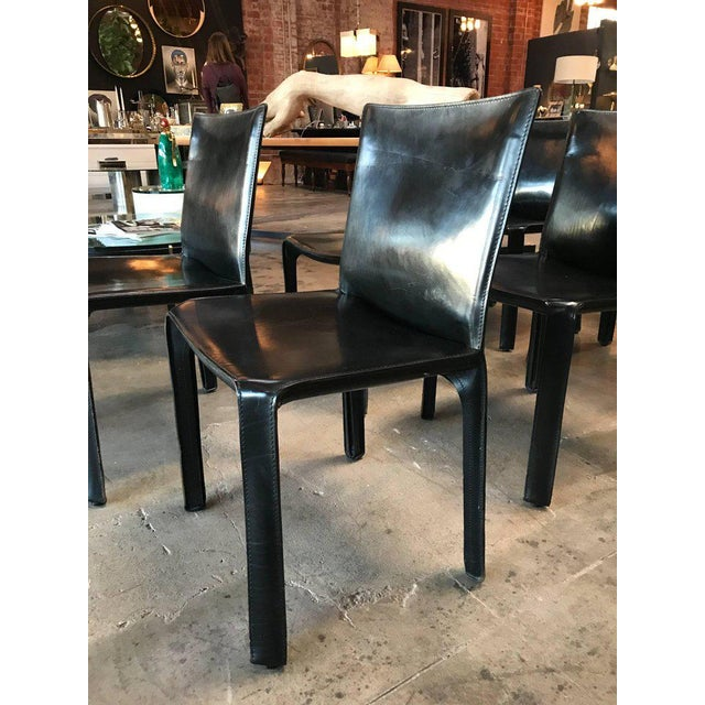 Italian Cassina Chairs, Model Cab Nr. 412, Mario Bellini in Black Leather, Set of Eight For Sale - Image 3 of 9