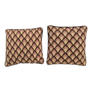 A Pair- Mid Century Bargello Needlepoint Pillows For Sale