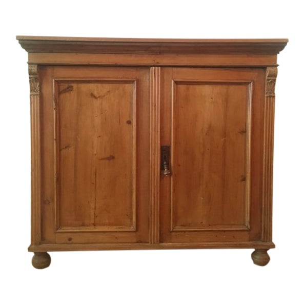 19th C Antique French Pine Cabinet For Sale