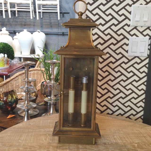 Antique Brass Lantern Wall Sconce - Image 2 of 2