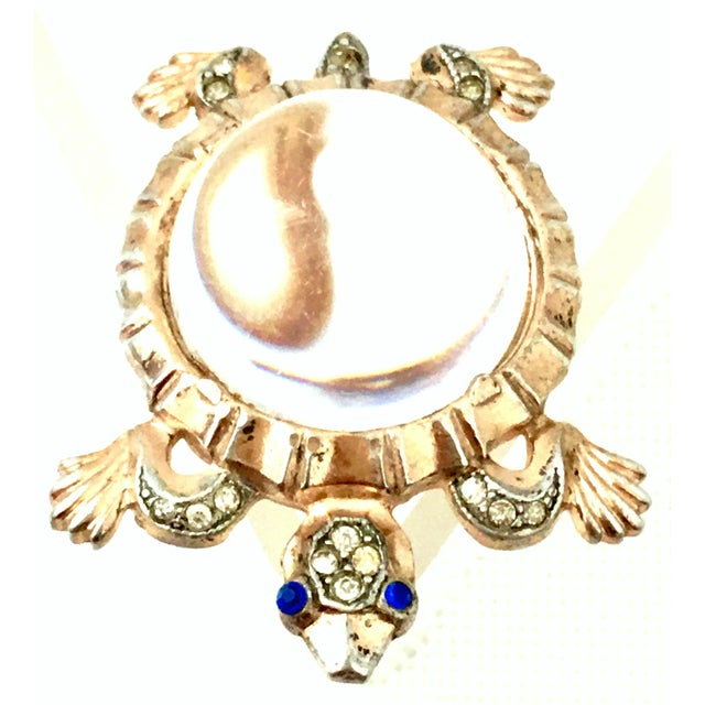 Trifari 1940s Trifari Sterling Vermeil, Lucite & Crystal Jelly Belly Turtle Brooch For Sale - Image 4 of 13