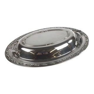 1980s Art Nouveau Silver Plate Serving Dish and Cover For Sale