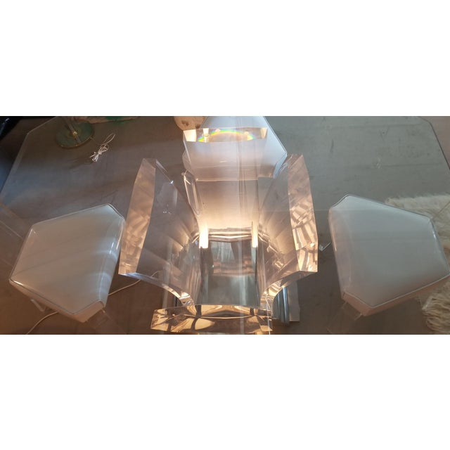 1980s 1980's Jeffrey Bigelow Lucite & Nickel Dining Table For Sale - Image 5 of 7