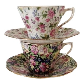 Chintz Cups and Saucers - A Pair