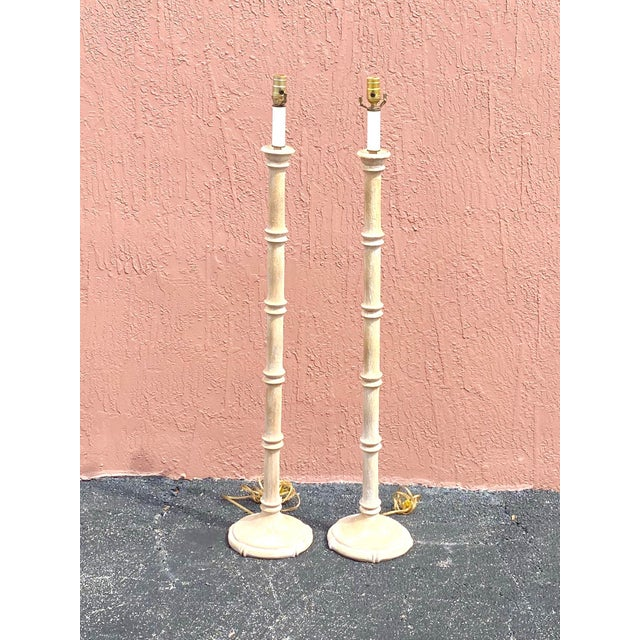 Wood Vintage Coastal Carved Bamboo Floor Lamps - a Pair For Sale - Image 7 of 10