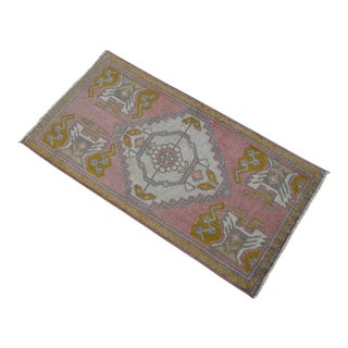 Distressed Low Pile Turkish Yastik Rug Faded Kitchen Sink Mat - 1'8'' X 3'2'' For Sale