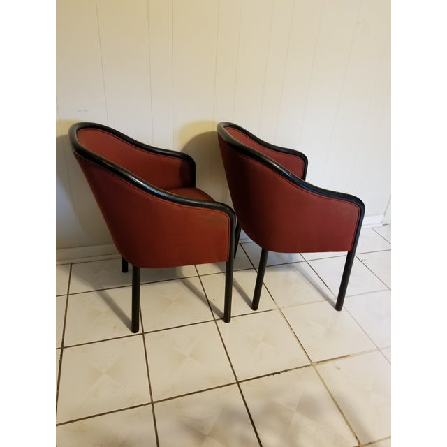 """Mid century modern chairs designed by Ward Bennett for Brickel Associates, circa 1960's. Red fabric and black frame. 32"""" H..."""