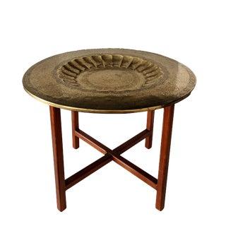 Vintage Teak & Brass Indian Campaign Side Table
