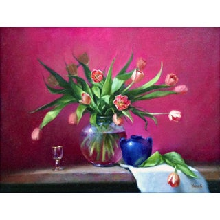 Original Tulips Still Life Oil Painting For Sale