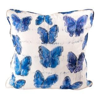 Hunt Slonem Butterflies in Blue Cotton Pillow Cover For Sale