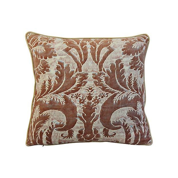 "Cotton 24"" X 22"" Custom Tailored Italian Mariano Fortuny Glicine Feather/Down Pillow For Sale - Image 7 of 9"